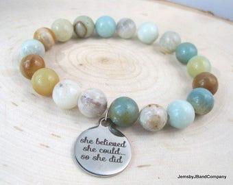 Amazonite Gemstone Bracelet, Quotation Charm Bracelet, Beaded Amazonite and Silver, She Believed She Could So She Did,  Motivational Jewelry