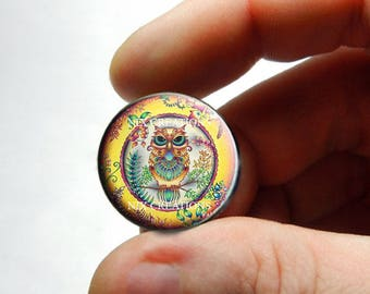 Retro Glass Owl Cabochon for Jewelry and Pendant Making - Design 20