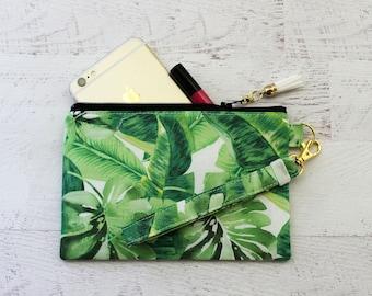 Monstera leaf wristlet - wristlet wallet - grab and go wristlet - zippered clutch - palm springs - tropical -  zipper pouch - wrist pouch