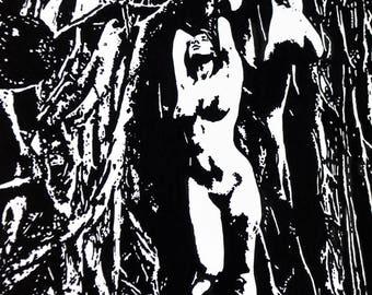 """Women In Trees Female Nude 6x4"""" art print"""