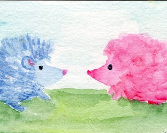 ACEO  Hedgehog  Painting -  Original watercolor, Couple of Hedgehogs - one blue, one pink