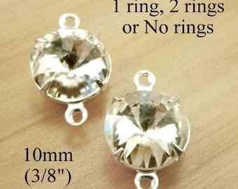 Crystal Round Glass Beads - 10mm Rivoli - Rhinestone Wedding Jewels - Glass Gems - Jewelry Supply - One Pair