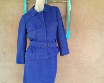 ON SALE Vintage 1950s Suit Purple Wool 50s Ben Gershel US6 W26
