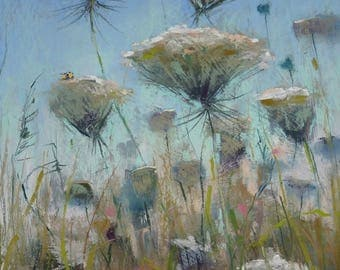 Summer Landscape Queen Annes Lace  Wildflowers with Bumblebees Original Pastel Painting Karen Margulis 16x10