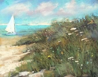 IRELAND Seashore Rosslare plein air  Landscape Original Pastel Painting Karen Margulis 8x10