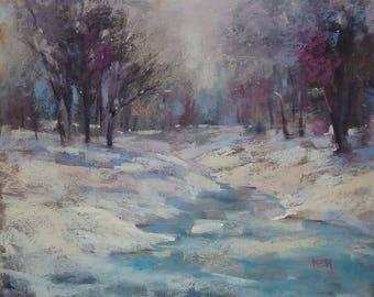 Winter Landscape Contemporary Original Pastel Painting  Karen Margulis 11x14