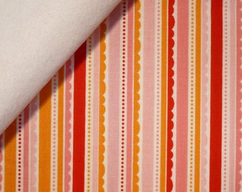 Happy Day fabric felt  :  Pink Scallop Stripes on White