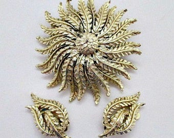 Coro Vintage Brooch and Clip Earrings - Vintage 1960's Signed Coro Demi Parure Set - Vintage Coro Jewelry