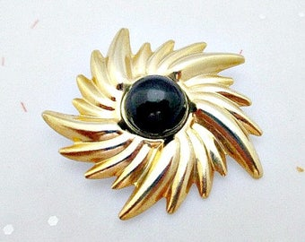 Vintage Pin Brooch Jewelry - Black Gold Pin Brooch - Gold Pinwheel - Black Cabochon - Retro Pin - Atomic Brooch - Vintage Jewelry Pin Gift