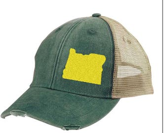 Distressed Snapback Trucker Hat -  Oregon off-center state pride hat - Many Colors available