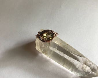Citrine & Copper Wire Wrapped Ring