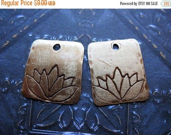 SALE Antiqued Brass Lotus Stamped Small Rectangles - 1 Pair - 15mm in length