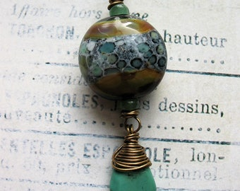 Lakeside Lampwork Glass with Turquoise Pendant - 2 inches in length