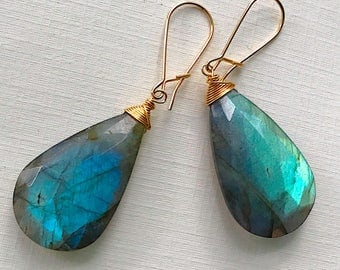 Long Labradorite Simplicity Earrings