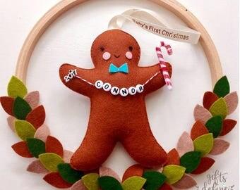 Gingerbread Holiday Keepsake, Personalized Christmas Gift, Family Keepsake, Baby First Christmas, Stocking Stuffer, Christmas Tree Ornament