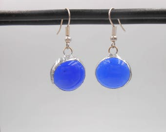 Blue Round Stained Glass Earrings light weight handmade glass gems