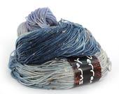 Handdyed 4ply sock yarn, fingering merino bright donegal fleck sock knitting wool, periwinkle blue grey crochet Perran Yarn Soft Denim, uk