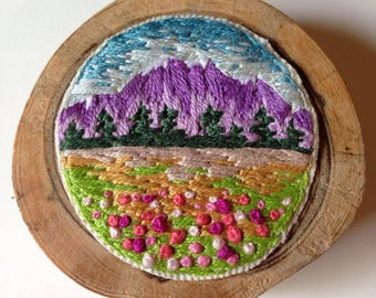 Mountain with Poppies Embroidery Art