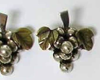 Vintage Earrings Sterling 975 Mexico, Hand Crafted Authentic Sterling Silver Vine, 1940s or 50s.