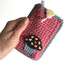 Crochet Holder, 3x5 Notebook Cover with Pen and Pad Included, Party Favor, Kids Travel Games Accessory, Small Notepad Case, Student Gifts