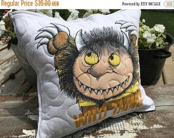 CRAZY SALE- Wild Thing Throw Pillow--Upcycled Eco Friendly-Quilted