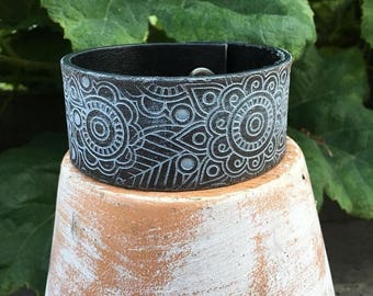 CRAZY SALE- Embossed Leather Cuff-Create Your Own-Floral Leather-Word Cuff
