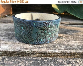 CRAZY SALE- Embossed Leather Cuff-Create Your Own-Hand Painted Floral Leather-Word Cuff