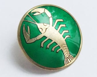 Vintage J Tostrup Norway Brooch Green Enamel Pin Zodiac Cancer Crab 1940s