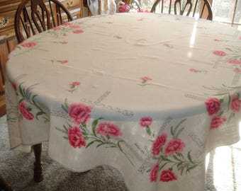 Vintage Tablecloth Pink Carnations Art Deco Era 50 x 67 inches