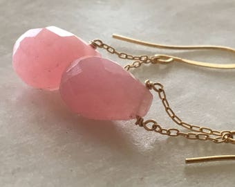 Jaipur Pink Earrings, Pink Chalcedony Earrings, Gemstone Earrings, Minimalist Earrings