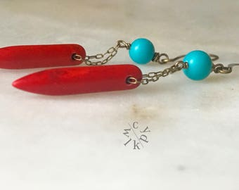 Red Magnesite Long Spike Earrings, Spike Earrings, Long  Earrings, Spike and Metal Earrings