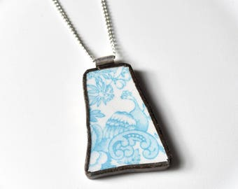Broken China Jewelry Pendant - Blue Phoenix