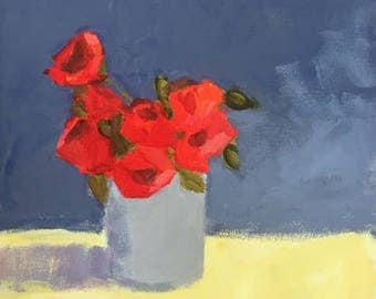 original flower painting red flowers yellow and blue grey art 12x12