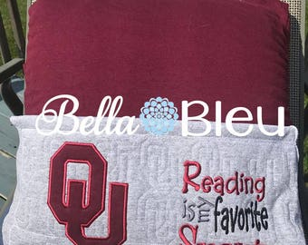 Reading Pillow, OU Reading Pillow, The University of Oklahoma, Boomer Sooners Book Pillow, Officially Licensed