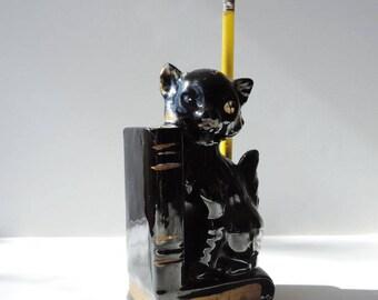 Black Cat Figurine Pencil Holder  Red Clay
