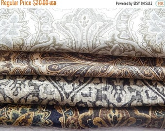CLEARANCE - 4 pieces brown green multi woven fabrics, 10 x 10 inches