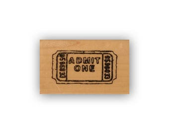 Movie Ticket mounted rubber stamp, journal or planner stamp, date night, Crazy Mountain Stamps #8