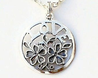 LOVE Pendant Flower 925 Sterling Silver Chain Charm necklace
