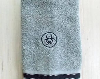 Biohazard Hand Towel - Nerd Bathroom Decor - Science Geek Bath Decor - Science Bath Decor - College Dorm Decor - Teen Boy Graduation Gift