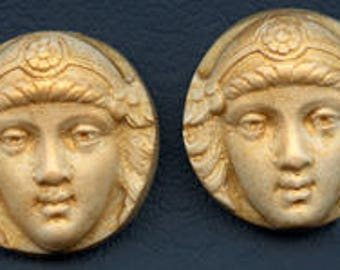 Sale !  2  Golden Polymer  Cabs Un drilled Art Nouveau faces SANP 2