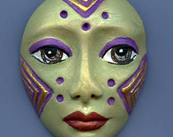 Polymer Clay One of a Kind  Spirit Doll    Detailed Face Cab Un Drilled SF 9