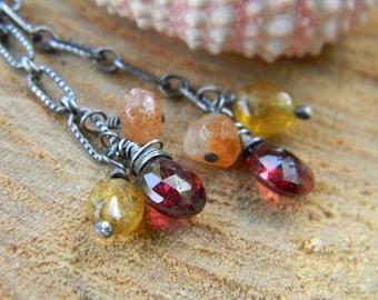 gemstone cluster earrings - rustic, oxidized silver - garnet, sunstone, yellow aquamarine