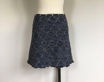 Skirt for women, winter skirt, snap skirt, sweater skirt, warm skirt, wrap skirt, knit skirt, navy blue skirt