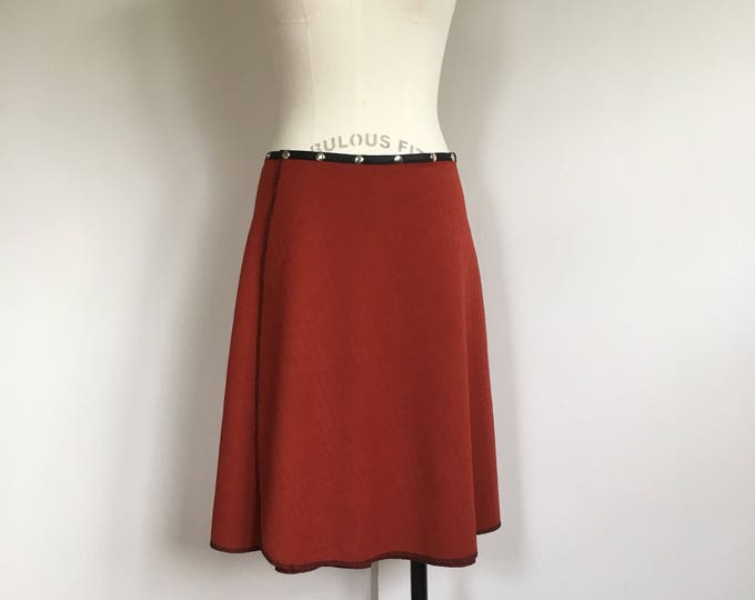 Orange Snap Skirt adjustable knit midi handmade textured wrap skirt Erin MacLeod, FREE SHIPPING