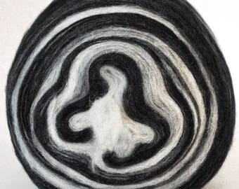 PLATINUM PRINT- Self Striping Spontaneous Spinning Roving Bullseye Bump - (5.7 oz. center-pull bump)