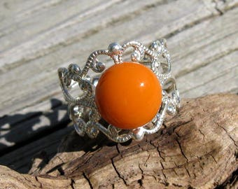 Silver With Orange Fused Glass Filigree Ring