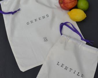 Zero Waste/Eco/ Green/Veggie/ Produce Muslin Shopping Bags- Set of Two!