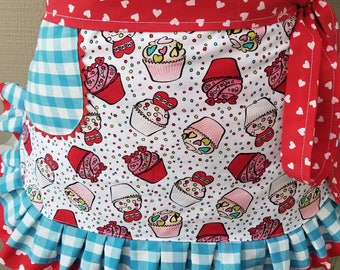 Womens Aprons - Valentines Aprons - Valentines Pink Aprons - Annies Attic Aprons - Etsy Aprons - Aprons with Cupcakes- Valentine Pink Aprons