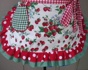 Womens Aprons - Strawberry Aprons - Red Strawberry Aprons -Red Dot Aprons - Handmade Aprons - Annies Attic Aprons - ETSY Handmade Aprons