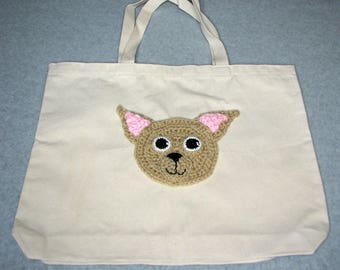 Chihuahua Canvas Tote  - Dog Tote Bag- Pet Lovers Bag - Custom Tote Bag - Dog Lover Gift - Dog Moms Gift -